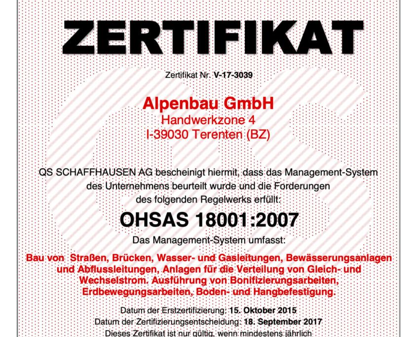 V-17-3039 Zertifikat, OHSAS 18001, DE, incl. dig. Unterschrift